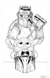 The Armorer & The Child - BW Drawing